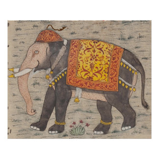 Vintage Decorated Elephant Painting (17th Century) Poster