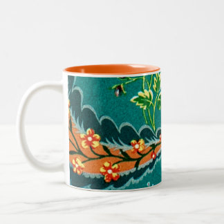 Vintage Decorative Colorful French Floral Design Two-Tone Coffee Mug