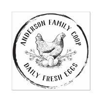 Vintage Decorative Hand-drawn Chicken Egg Carton Rubber Stamp