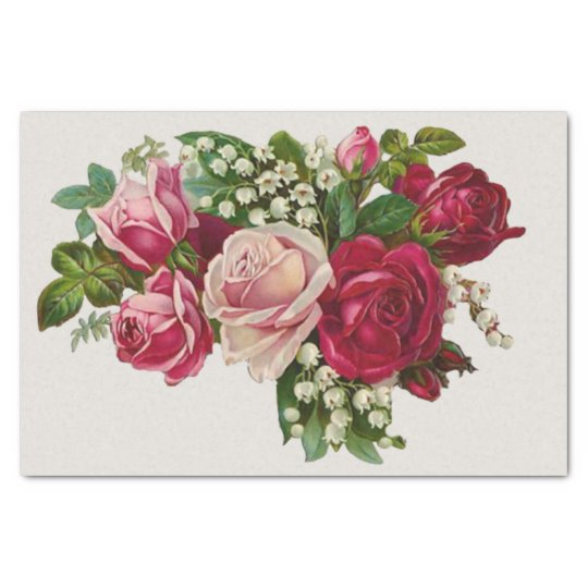 Vintage Decoupage Roses Pink and Red Bouquet Tissue Paper