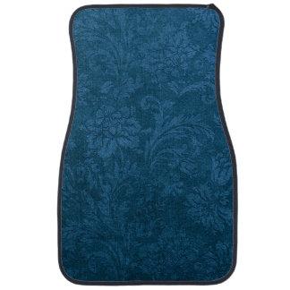 Vintage Deep Blue Floral Damask Car Floor Mat