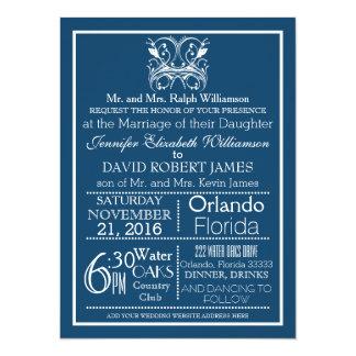 Vintage Deep Blue Typography Wedding Invitation