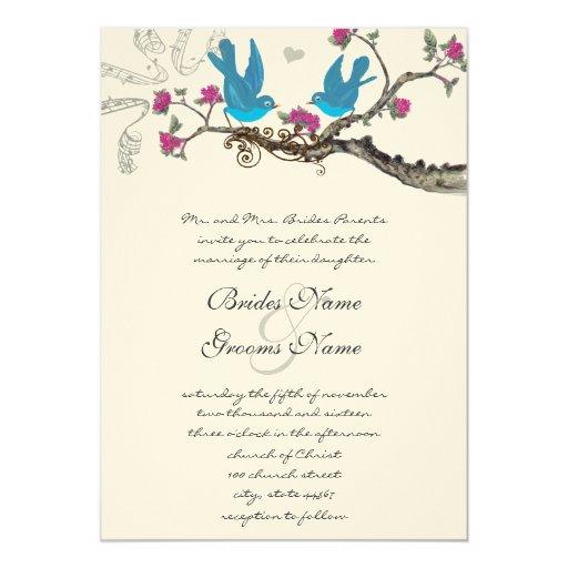 Vintage Deep Bright Aqua Birds Pink Fuchsia Blooms 5x7 Paper Invitation Card