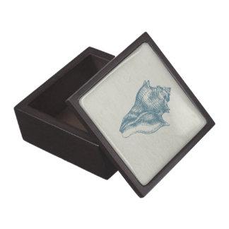 Vintage Deep Ocean Blue Shell Jewelry Box