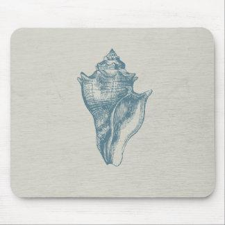 Vintage Deep Ocean Blue Shell Mouse Pad