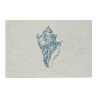 Vintage Deep Ocean Blue Shell Placemat