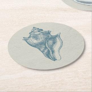 Vintage Deep Ocean Blue Shell Round Paper Coaster
