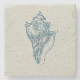 Vintage Deep Ocean Blue Shell Stone Coaster