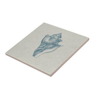 Vintage Deep Ocean Blue Shell Tile
