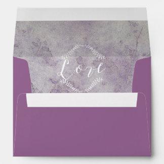Vintage Deep Purple Ornate Love Script Lined Envelope