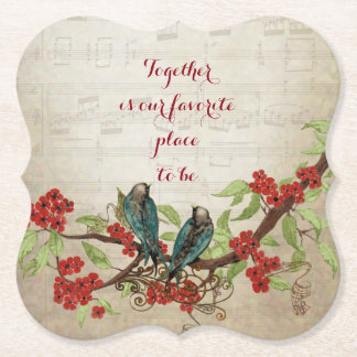 Vintage Deep Red and Blue Birds Floral Quote Paper Coaster