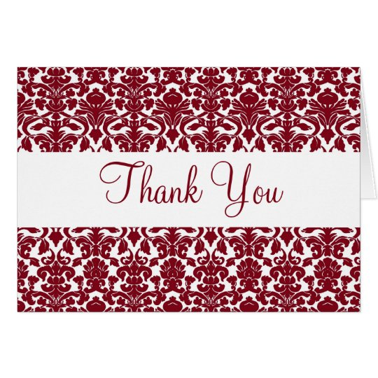 Vintage Deep Red Damask Thank You Card