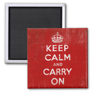 Vintage Deep Red Distressed Keep Calm and Carry On 2 Inch Square Magnet