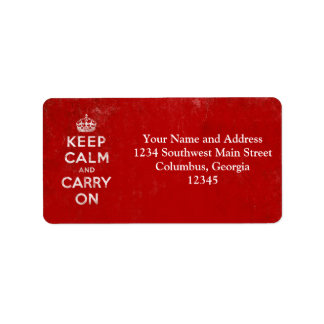 Vintage Deep Red Distressed Keep Calm and Carry On Address Label