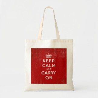 Vintage Deep Red Distressed Keep Calm and Carry On Canvas Bags
