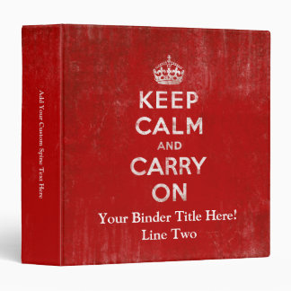 Vintage Deep Red Distressed Keep Calm and Carry On Binder