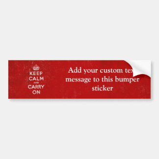 Vintage Deep Red Distressed Keep Calm and Carry On Bumper Sticker