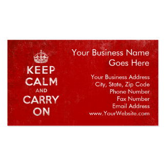 Vintage Deep Red Distressed Keep Calm and Carry On Business Card Template