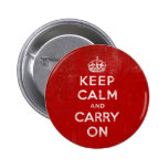 Vintage Deep Red Distressed Keep Calm and Carry On Pins