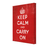 Vintage Deep Red Distressed Keep Calm and Carry On Canvas Print