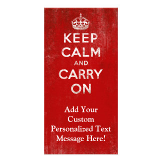 Vintage Deep Red Distressed Keep Calm and Carry On Card