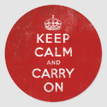 Vintage Deep Red Distressed Keep Calm and Carry On Classic Round Sticker