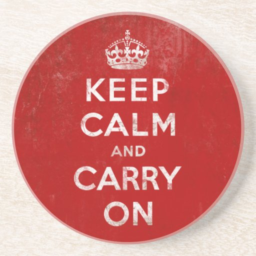 Vintage Deep Red Distressed Keep Calm and Carry On Coasters