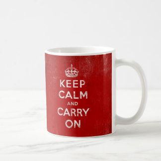 Vintage Deep Red Distressed Keep Calm and Carry On Coffee Mug