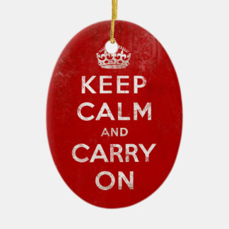 Vintage Deep Red Distressed Keep Calm and Carry On Double-Sided Oval Ceramic Christmas Ornament