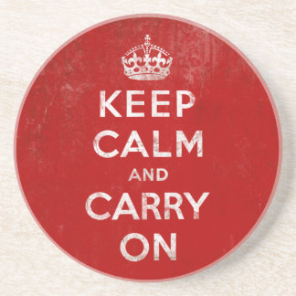 Vintage Deep Red Distressed Keep Calm and Carry On Drink Coaster