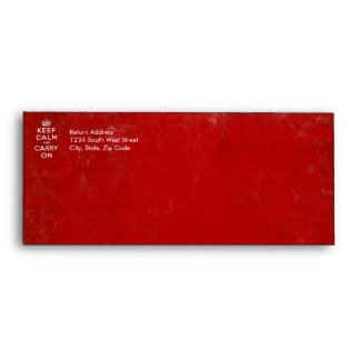 Vintage Deep Red Distressed Keep Calm and Carry On Envelope