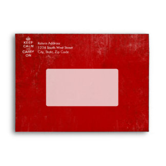 Vintage Deep Red Distressed Keep Calm and Carry On Envelopes