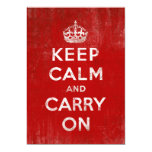 Vintage Deep Red Distressed Keep Calm and Carry On Custom Invitations