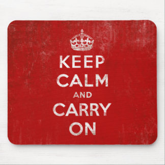 Vintage Deep Red Distressed Keep Calm and Carry On Mouse Pad
