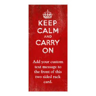 Vintage Deep Red Distressed Keep Calm and Carry On Personalized Rack Card