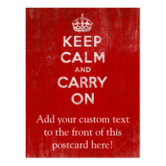 Vintage Deep Red Distressed Keep Calm and Carry On Postcard