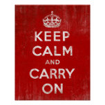 Vintage Deep Red Distressed Keep Calm and Carry On Poster