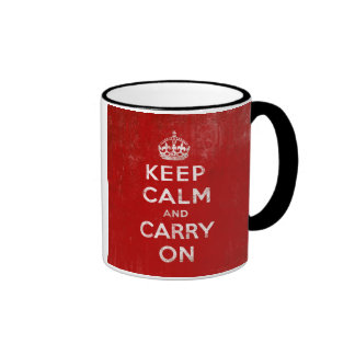 Vintage Deep Red Distressed Keep Calm and Carry On Ringer Coffee Mug