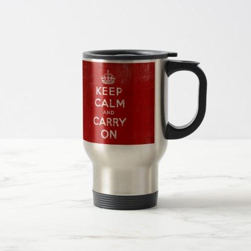 Vintage Deep Red Distressed Keep Calm and Carry On Travel Mug
