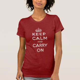 Vintage Deep Red Distressed Keep Calm and Carry On T-shirts