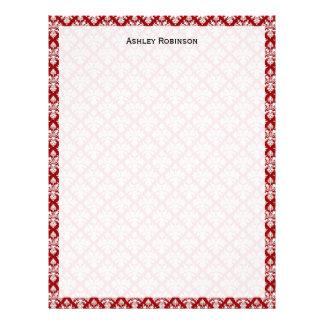 Vintage Deep Red White Damask #3 Letterhead
