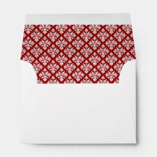Vintage Deep Red White Damask #3 Wht A6 6x4 Envelope