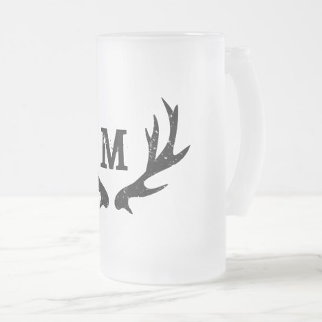 Vintage deer antler monogram glass beer mug gift