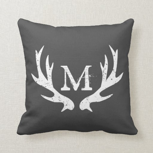Vintage deer antler throw pillow Gray and white Zazzle