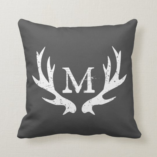 Superb Vintage Deer Antler Throw Pillow Gray And White Inzonedesignstudio Interior Chair Design Inzonedesignstudiocom
