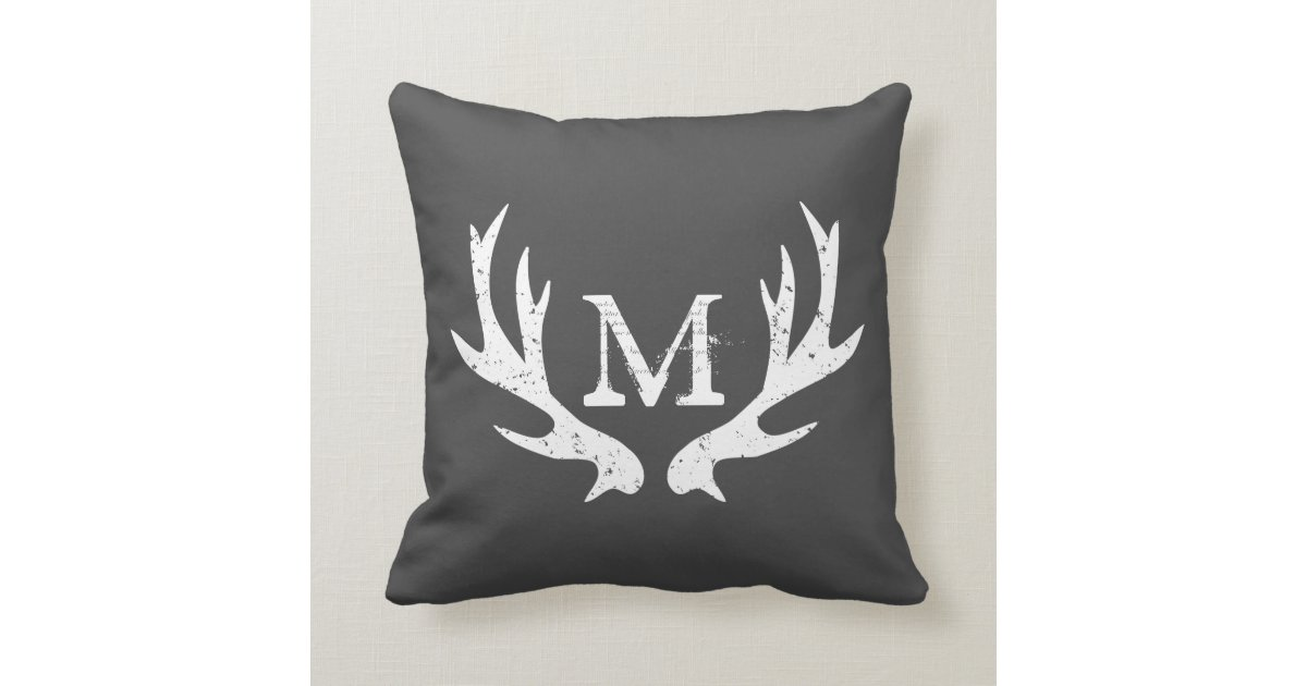 Antler Throw Pillow : Vintage deer antler throw pillow Gray and white Zazzle
