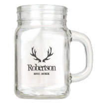 Vintage deer antlers DIY mason jar mug with handle