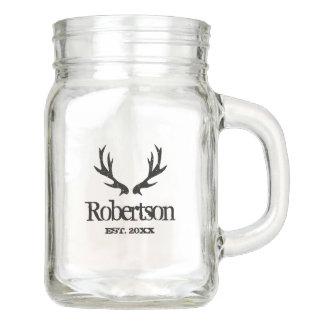 Vintage deer antlers DIY mason jar mug with handle