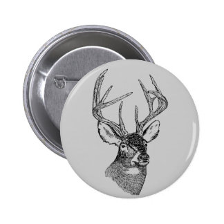 Vintage deer art graphic button
