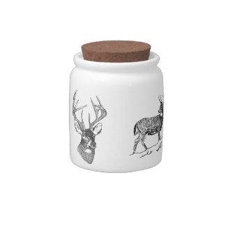 Vintage deer art graphic candy jar